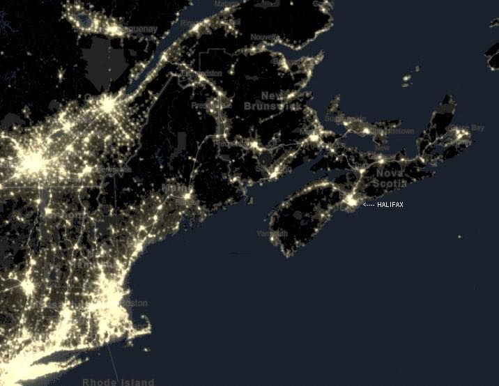 """All of these are Nova Scotia as seen from the International Space Station. Photo Credits, NASA, Commander Hadfield.  Neil MacLean: """"wow Antigonish is such a bright light."""" I can see the small amount of lights that are Truro, and Antigonish, the medium light that is Halifax, and the mass of light down the coast that is Boston."""