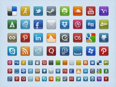 Free downloadable social network icons in PSD format.