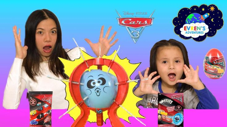 BOOM BOOM BALLOON! Balloon Pop Challenge Family Fun Game Disney Cars 3 Egg Surprise Evren ToysReview.  Boom Boom Balloon Board Game from Spin Master Games played by Evren and her mummy. It is the crazy fun challenge game where each player roll the die, take the stick and click it in as many times as the number on the die said! The first player who pop the balloon is the loser. The winner gets Disney Cars 3 blind bag, and Disney Cars 3 egg surprise! The loser get one Disney Cars 3 Wheelies.