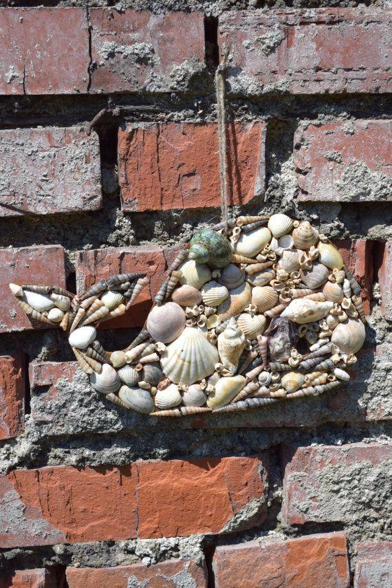 Whale seashell decor,Rustic ornament,Beach house decor,Cottage decor,Nautical ornament,Coastal sign,Beach wedding,Coastal decor,Ocean art