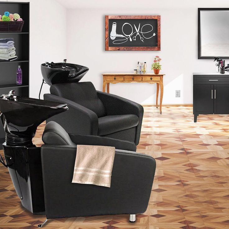 Shampoo Station Salon Decor Idea! Gravity shampoo units and black Fitz Styling Station by KELLER International!