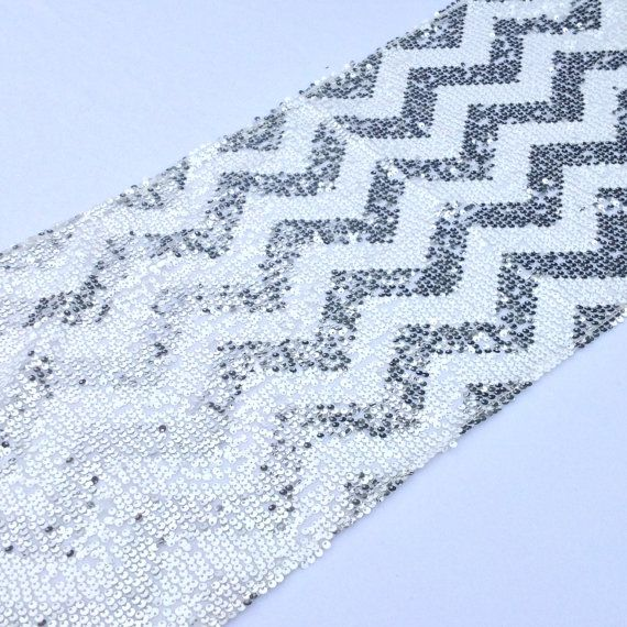 Chevron Sequin Table Runner  12x108  Silver and by CreativePapier, $45.00