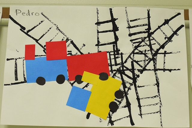 inspired by Donald Crews' Freight Train. printmaking + shapes.
