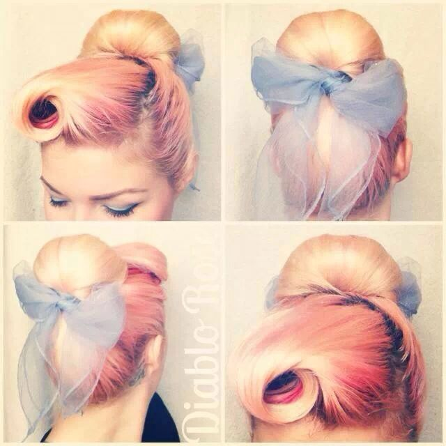 Cute pinup hair idea! pink hair 50s scarf around updo bun
