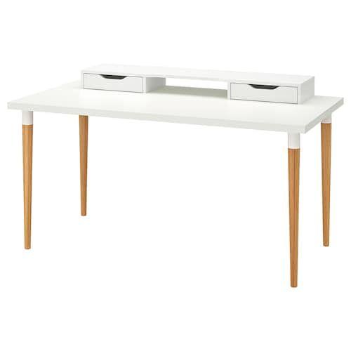 Linnmon Hilver Table White Bamboo 59x29 1 2 Ikea In 2020 Ikea White Desk Drawer Shelves Ikea