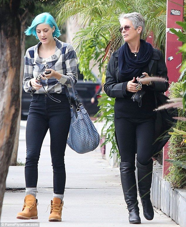 Mother daughter time: True Lies star Jamie Lee Curtis is spotted out and about with her blue-haired daughter Annie in West Hollywood, Califo...