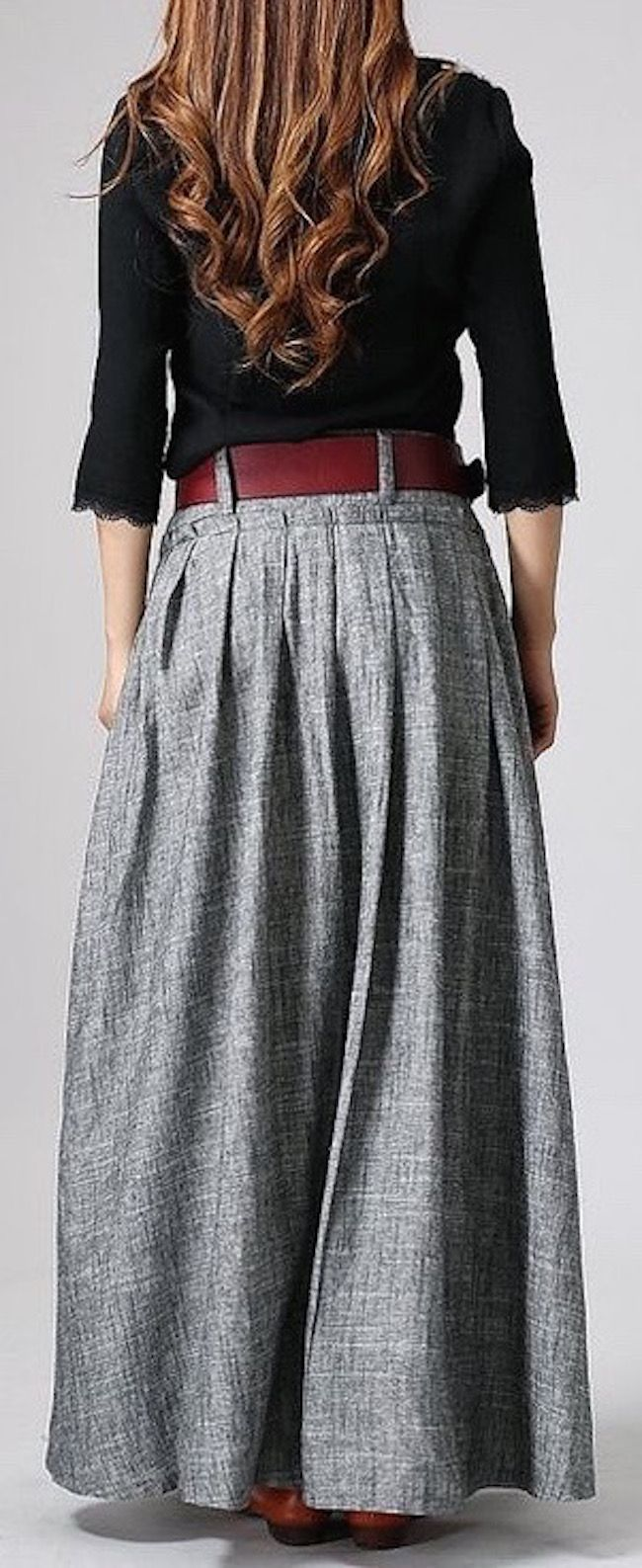 Long linen maxi skirt in gray