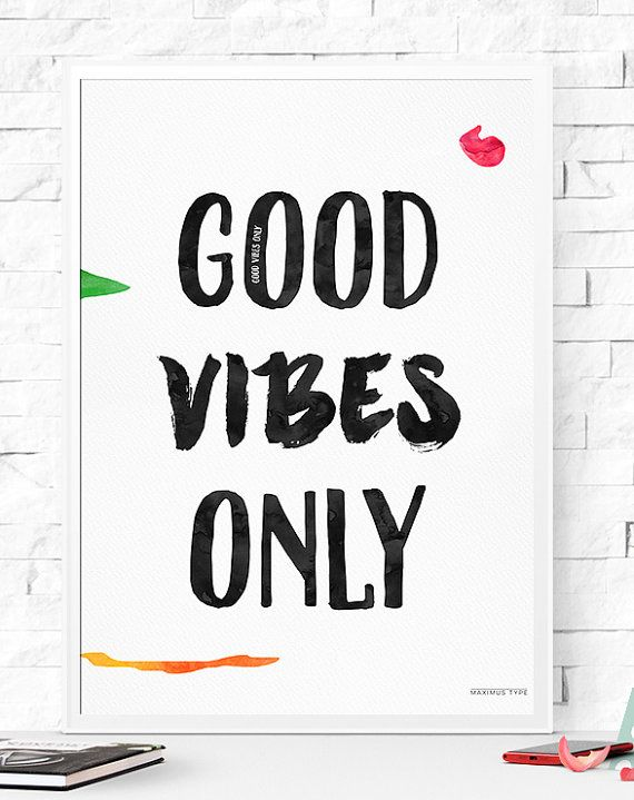 2 art prints Good Vibes only Inspiration print от MaximusType