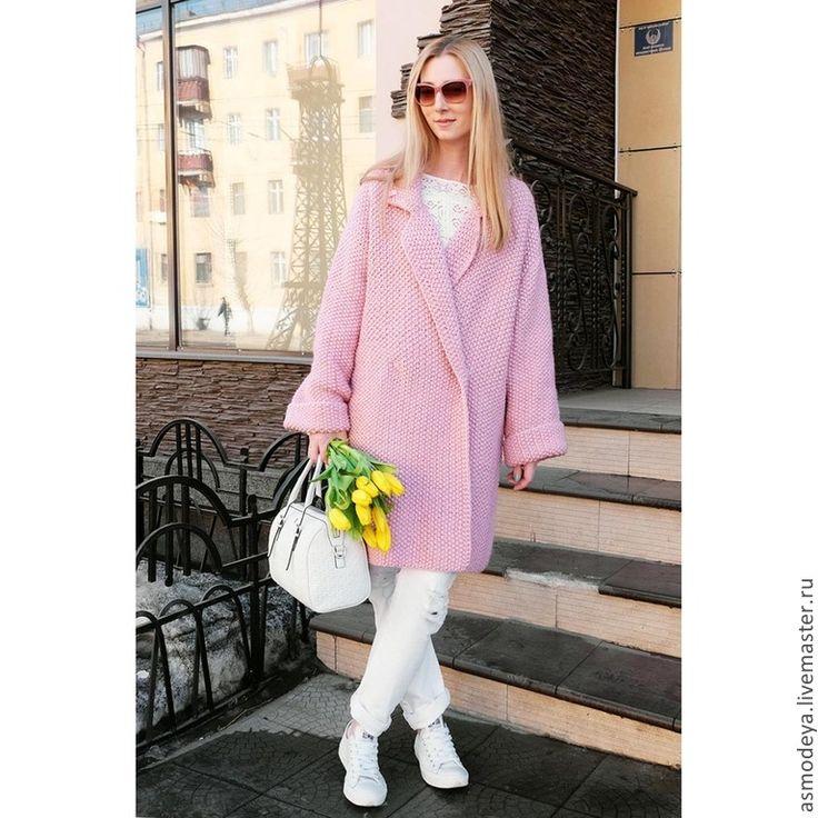 Купить Пальто вязаное розовое - бледно-розовый, пальто, пальто женское, пальто…