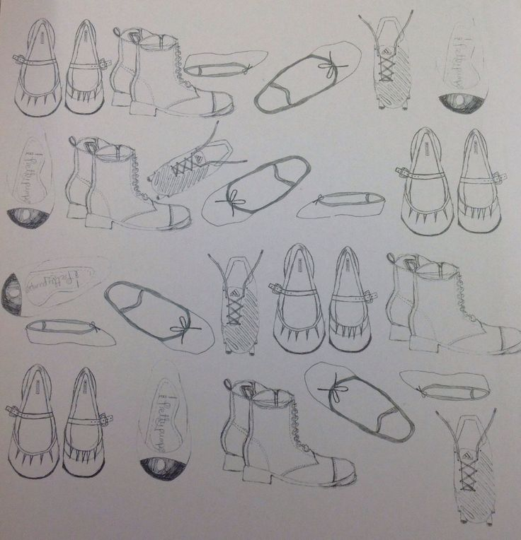 Many drawings of shoes