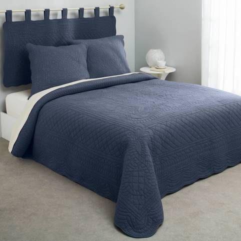 Jeté de lit boutis matelassé coton Tertio® - Bleu- Vue 1