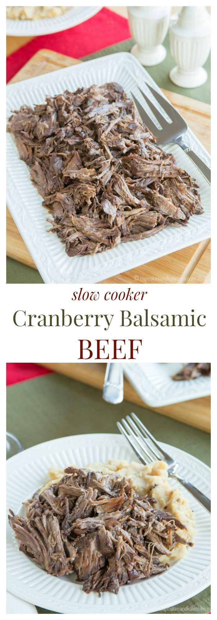 Slow Cooker Cranberry Balsamic Beef - just four ingredients in this easy slow cooker recipe for a tender, fall apart beef roast. #SundaySupper with #GalloFamily #ad | cupcakesandkalech... | gluten free