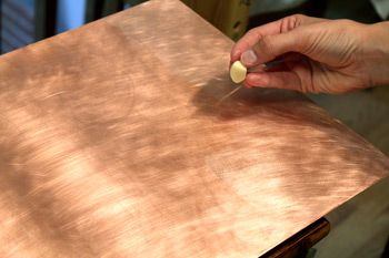 How to Paint on Copper - Etch the Copper Plate with Garlic Juice