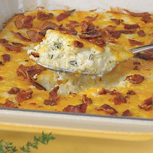 Bacon and Cheddar Cheese Grits CasseroleMyrecipes Com, Lady Night, Casseroles Recipe, Food, Cheese Grits Casseroles, Cheddar Cheese, Breakfast Bacon, Chees Grits, Cheddar Grits