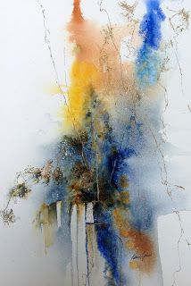 ON THE EDGE 16 x 20 watercolor, spray webbing on 400lb cold press by Katrina Jones
