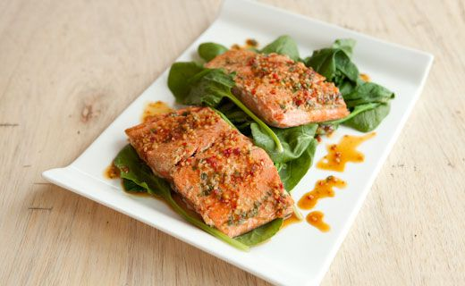 Epicure's Steamed Teriyaki Salmon with Spinach  (Copyright © Epicure Selections)