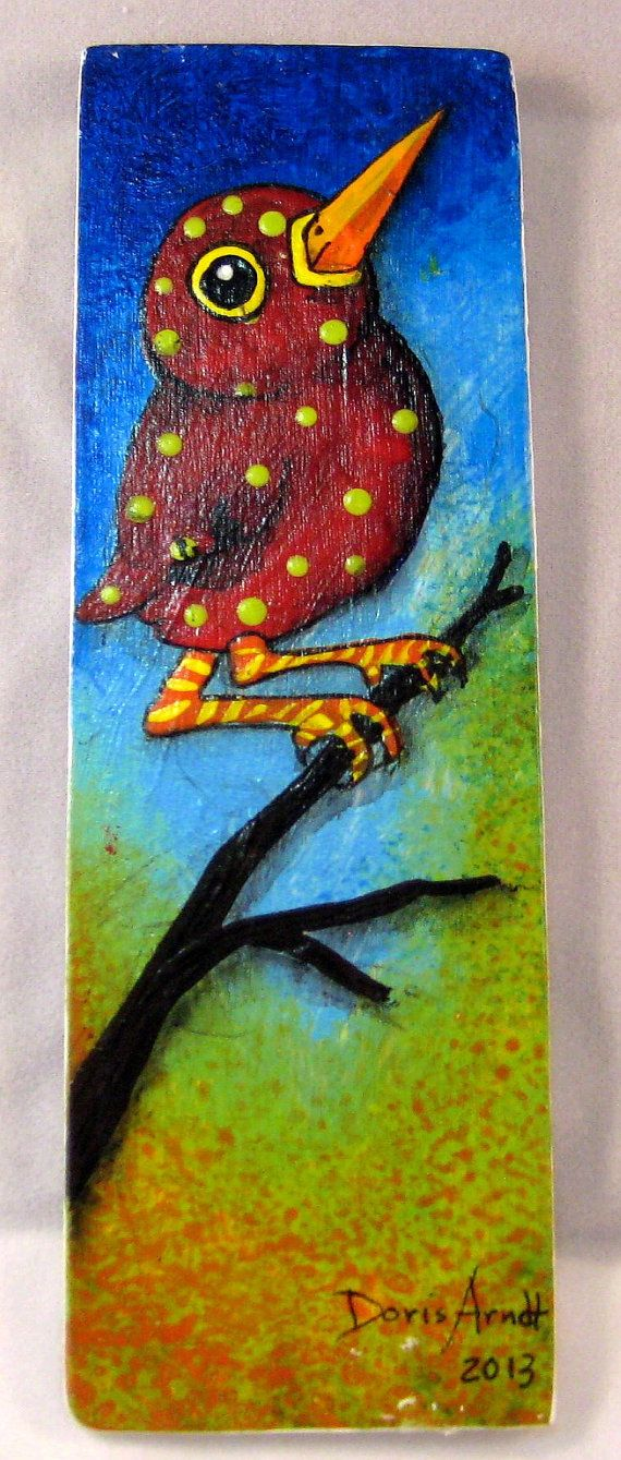 Red Whimsical Bird on Branch by PhantomWhispers on Etsy, $45.00