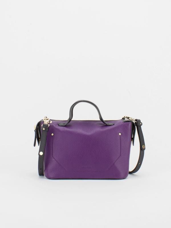 ROBIN Colour Blocking Leather Satchel - Aubergine