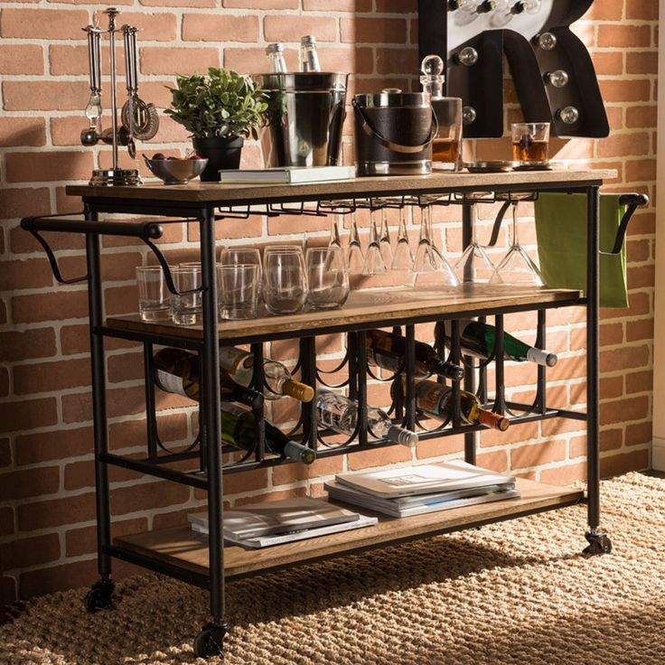 Baxton Studio Bradford Rustic Industrial Kitchen Serving Cart - The Baxton Studio Bradford Rustic Industrial Serving Cart is sure to impress with its ample storage and industrial design. The strong metal frame is...