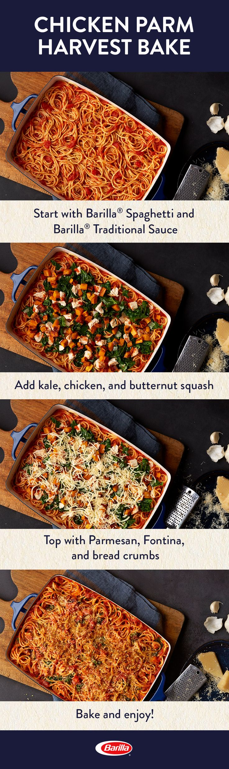 Save this recipe for a comforting pasta bake that's perfect for the fall season! Full of veggies like butternut squash and kale, this spaghetti and Traditional sauce meal is easy to prepare for a big family dinner.