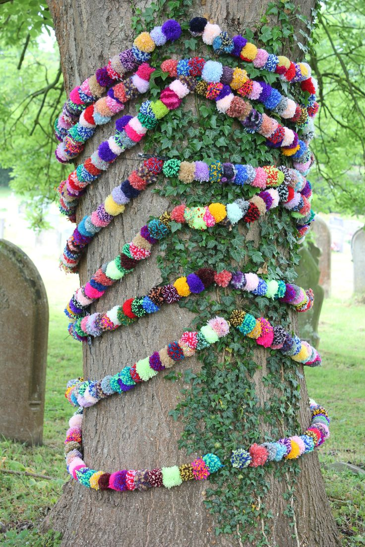 Tree Garlands craft bomb by Woolly Wotnots. Installed with permission for an open gardens afternoon it was displayed with the Martin Luther quote: Every green tree is far more glorious than if it were made of gold and silver. Woolly Wotnots 2015. #getcreative
