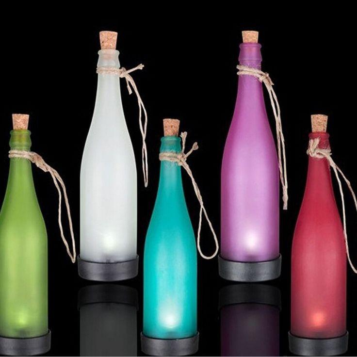 5pcs/lot kleurrijke verlichting zonne-energie lamp solar fles wijn buiten gazon lichten geleid plastic flessen modellering lamp gratis verzending(China (Mainland))