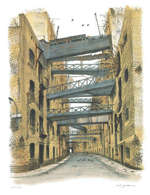 A David Gentleman lithograph - Shad Thames, 1985. I remember seeing that scene exactly in the 1980s, perhaps a year or so after DG's drawing. It looked the same. The next time I saw it was in the late-80s and it was full of yuppie knickers-and-chocolates shops, as I recall...