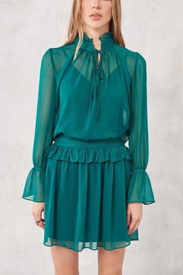 Zümrüt Yeşili Fırfırlı Elbise TRENDYOLMİLLA   Trendyol