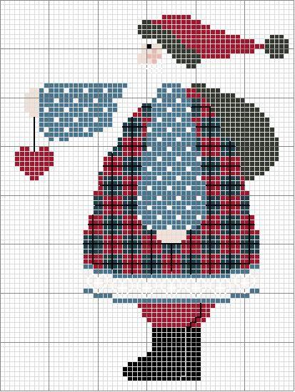 Free Country Cross Stitch Pattern: Plaid Santa holding heart