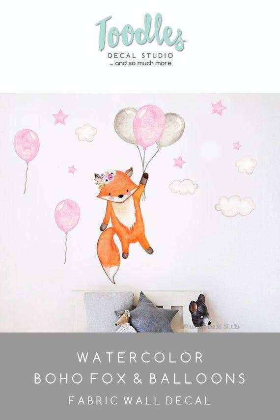 Boho fox wall decal | girls pink balloon fabric stickers | woodland nursery decor | watercolor cute