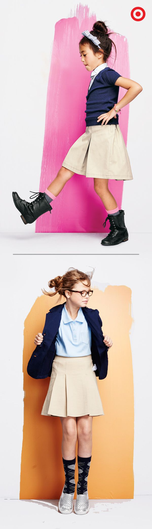 Uniforms make getting dressed for school extra easy. Start with tucked in polos and classic khaki skirts. Then add a playful pair or socks and shoes. Find all kinds of colors and styles to set the girls up for a successful and stylish year.