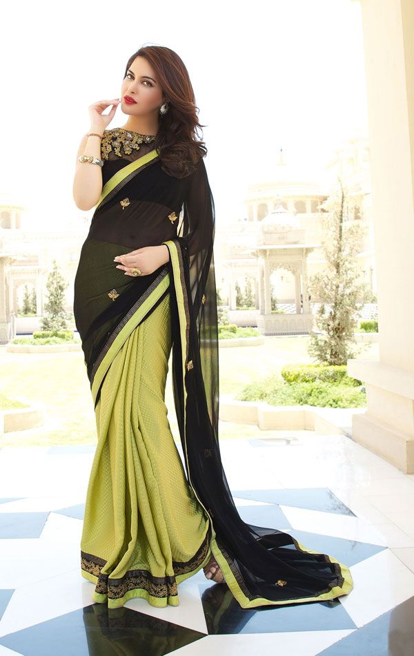 Show details for Blasting Black and Green Saree with Designer Blouse Piece