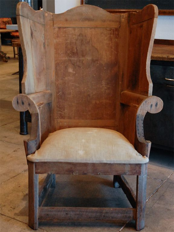 """LOVE THIS!!  It doesn't even need to be """"finished"""" - it's PERFECT just like it is!!!  ---Early American 'Make-Do' Wingback , 19th c. image 2"""