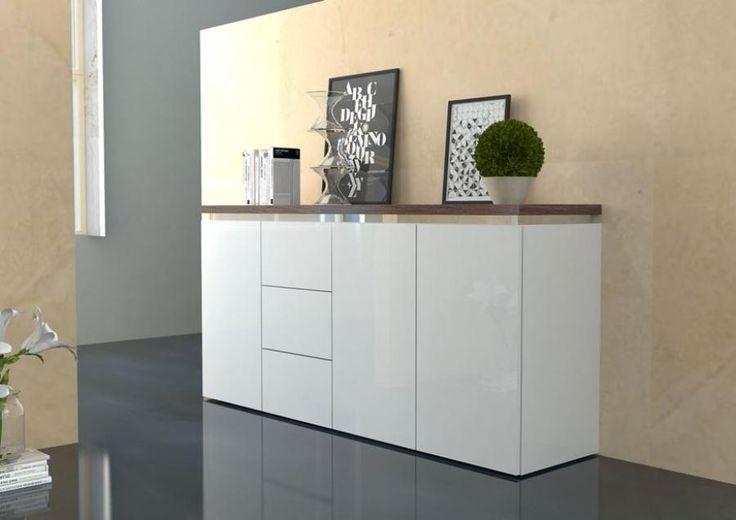 Pietra, Credenza Moderna in Bianco Lucido con Top effetto Noce Americano