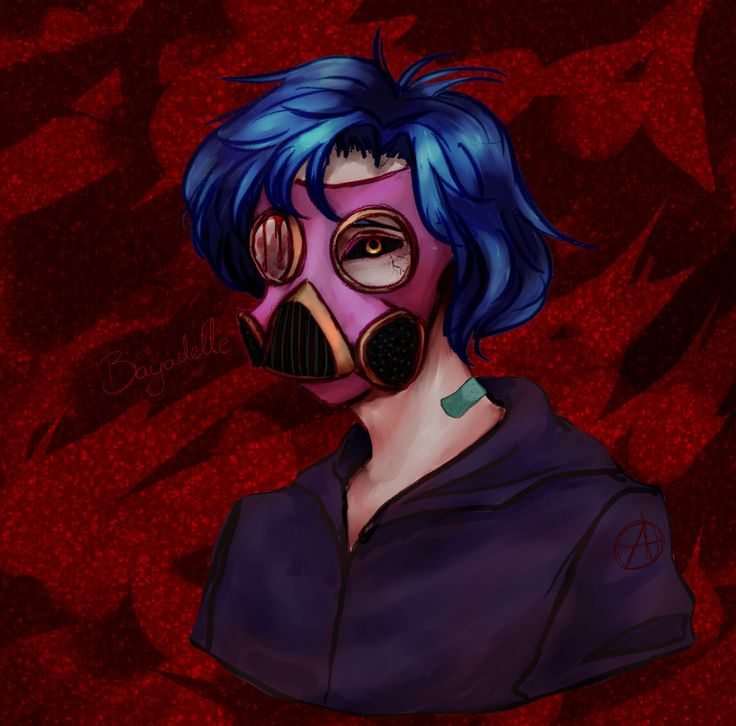 Yeah, I have nothing to do, so I'm making some quick paintings (this one took, like, 30 minutes?) Yeah, ghoul-like something, one of my old OCs - Honey.  #art #instaart #digital #digitalpainting #OC #anime #boy #bluehair #gasmask #ghoul #tokyoghoul #creepy