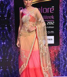 Buy peach embroidered net saree with blouse lehenga-saree online