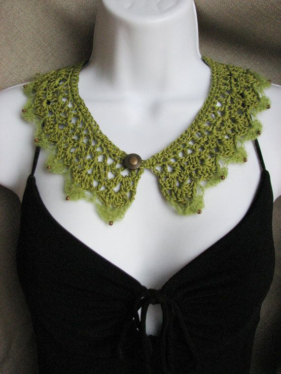 Green Crochet Lace Collar Green Collar by TheYarnShack on Etsy