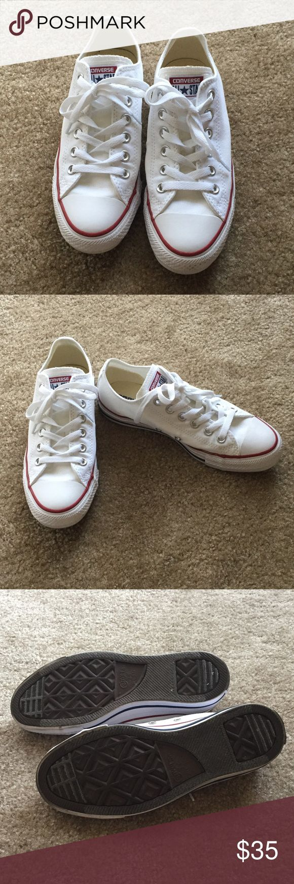 ❗️FLASH SALE❗️ White Low Top Converse Pre-owned. Unfortunately, it didn't fit me so I never got a chance to wear them. Very minimal wear. Please see last 2 pictures as one shoe has a scuff and the other is slightly dirty on the side. Otherwise, in excellent used condition. Women's size 7 or men's size 5. Does not come with box.  If you have any questions, please ask! I want to make sure you love what you buy. ☺️ Converse Shoes Sneakers