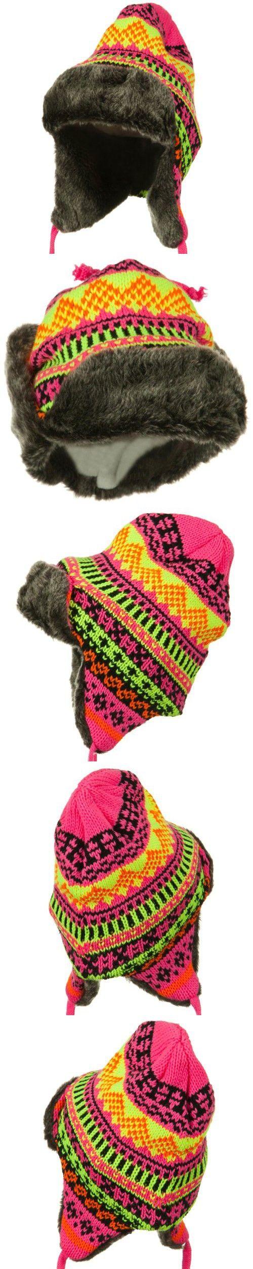 Neon Color Knit Trooper Hats - Neon Pink