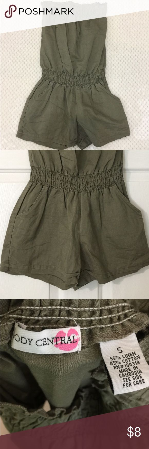 Body Central Olive Green Romper Body Central olive green strapless romper with two front pockets and elastic top. Body Central Shorts