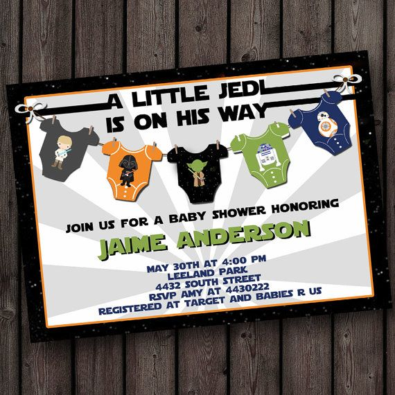 Starwars baby shower invitation, star wars baby shower invitation, little jedi shower invitation, digital, customized, the force awakens