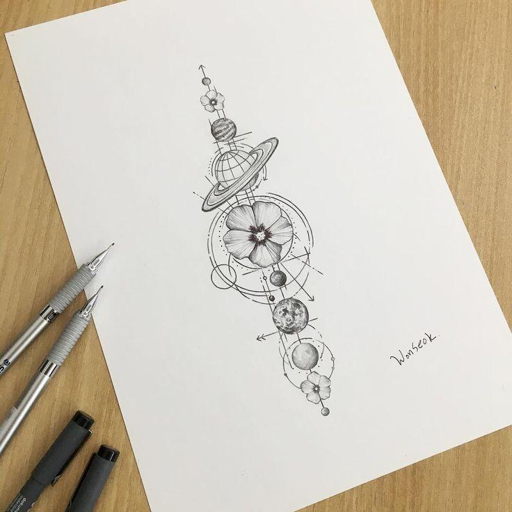 ∥Planets + Flower ∥태양계 행성 , 무궁화∥∥ . . . . .  #illust #tattoo #design #wonseok #tattooist #planets #tattoos #drawing #pen #illusttattoo #flowertattoo #geometry #spacetattoo #서울타투 #라인타투 #타투도안 #우주타투 #미니타투 #대학로타투 #타투이스트원석 #earthtattoo #일러스트 #linetattoo #행성타투 #혜화역 #꽃타투 #우주타투 #무궁화타투 #타투
