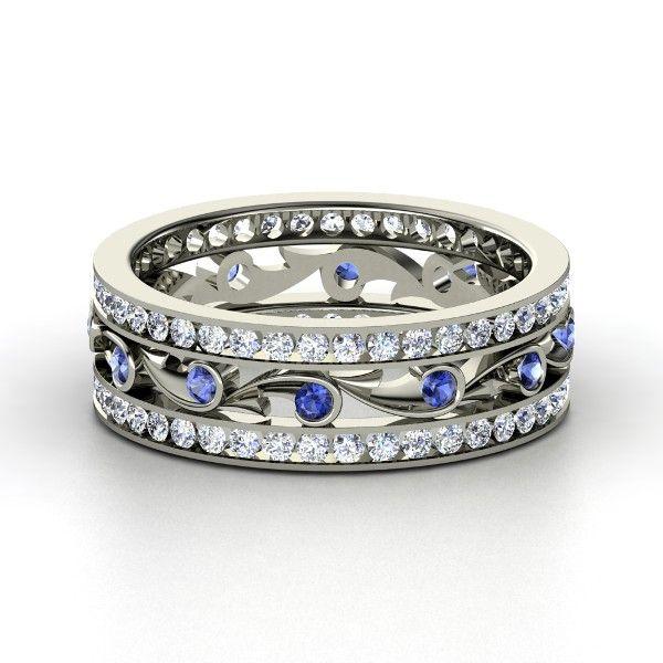 14K White Gold Ring with Sapphire & Diamond | Sea Spray Band | Gemvara