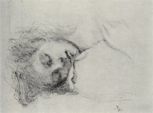 Balthus, Girl Asleep, charcoal, 1978