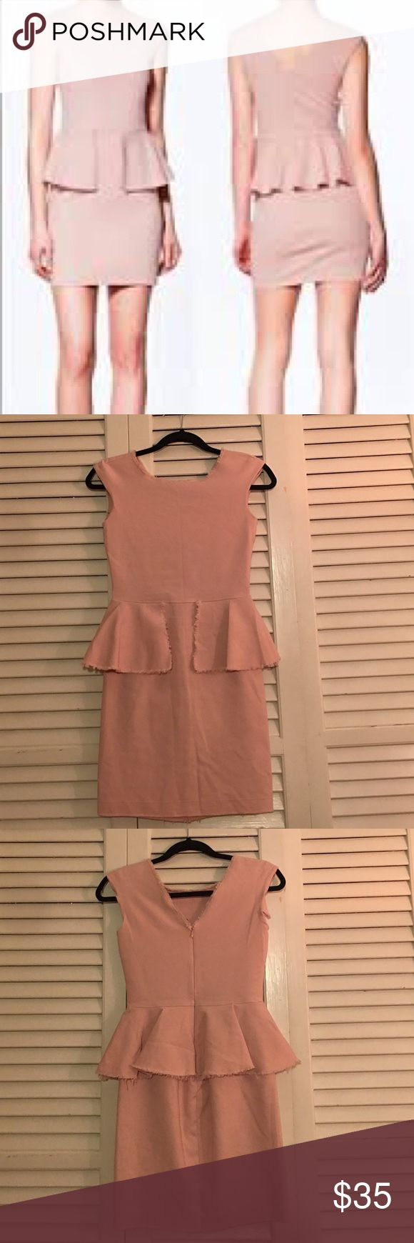 """Zara Peplum dress in blush Zara Woman peplum dress in blush. Size small. BLOGGER FAVORITE. Peplum style dress has fraying around the edges. In gently worn, preloved condition. I DO NOT MODEL LISTINGS, measurements are provided. Measurements approx. 31"""" length, 24"""" waist, 13"""" from armpit to armpit. Love the item but not the price? Please make offers using the offer button. 🚫POSH ONLY, NO TRADES OR COMMENT OFFERS🚫 Zara Dresses"""