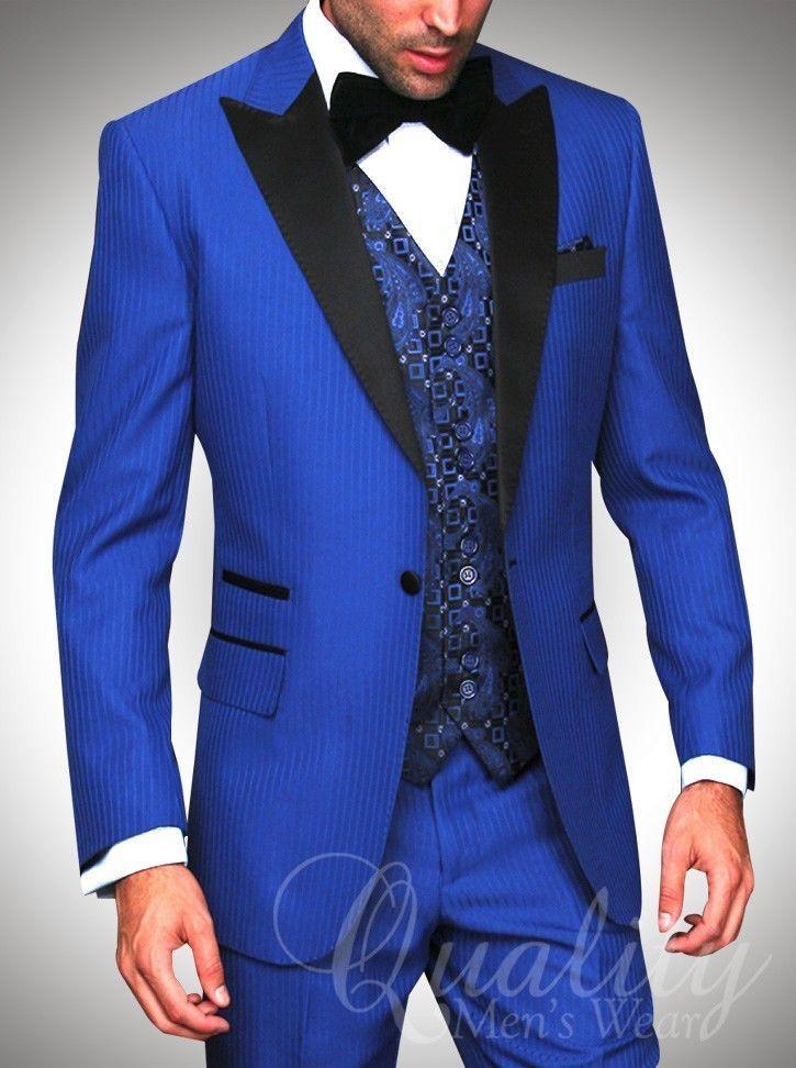 Royal Blue Tuxedo Suit Modern Fit 1 Button Black Trim Tonal Chalkstripe $899 #Statement #ModernFit
