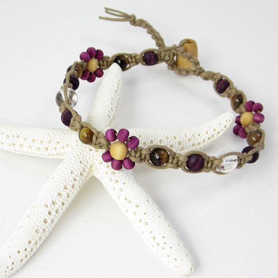 Orchid Purple Micro Macrame Anklet, Plum Hippie Bohemian Ankle Bracelet, Beaded Foot Jewelry