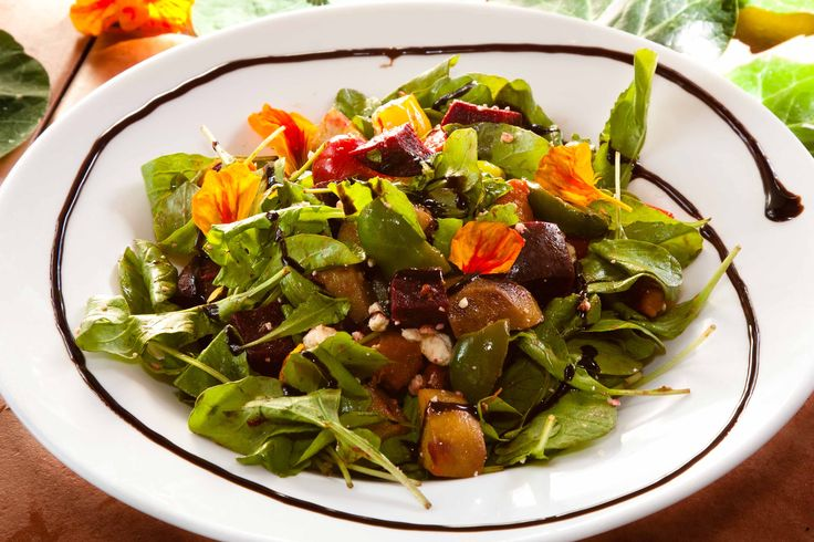 Pompii Salad: Roasted vegetables, rocket and feta with a balsamic dressing — at Stefanos Italian Pizza And Pasta.