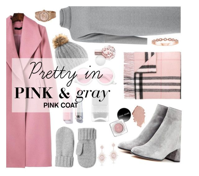 """""""Pretty in Pink n Gray"""" by sandralalala ❤ liked on Polyvore featuring Warehouse, Gianvito Rossi, Burberry, Everlane, Anne Sisteron, Rolex and ZeroUV"""