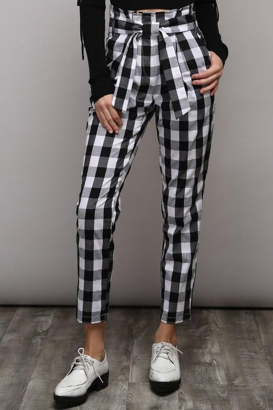 Gingham Print Tie Waist Pants